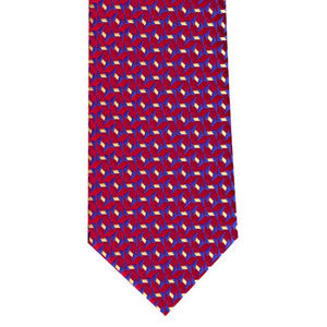 Geometric Red Woven Tie